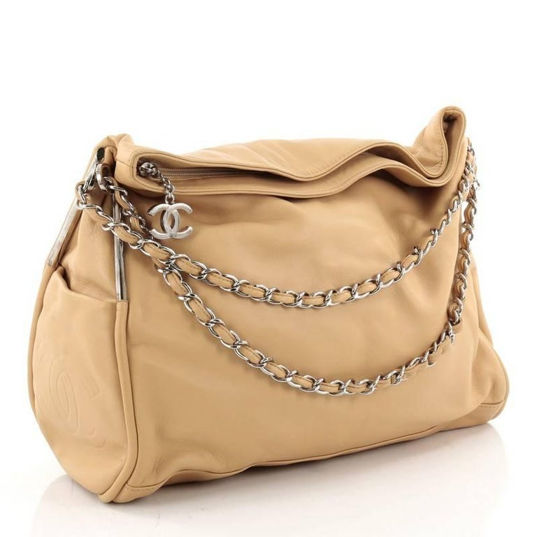 69bad2a1ec6383 Beige Chanel Ultimate Soft Hobo Leather Large For Sale