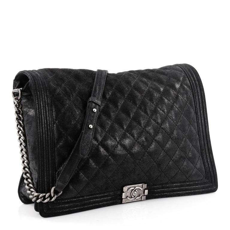 498a2fd2e6ff Black Chanel Boy Flap Bag Gentle Quilted Goatskin XL For Sale