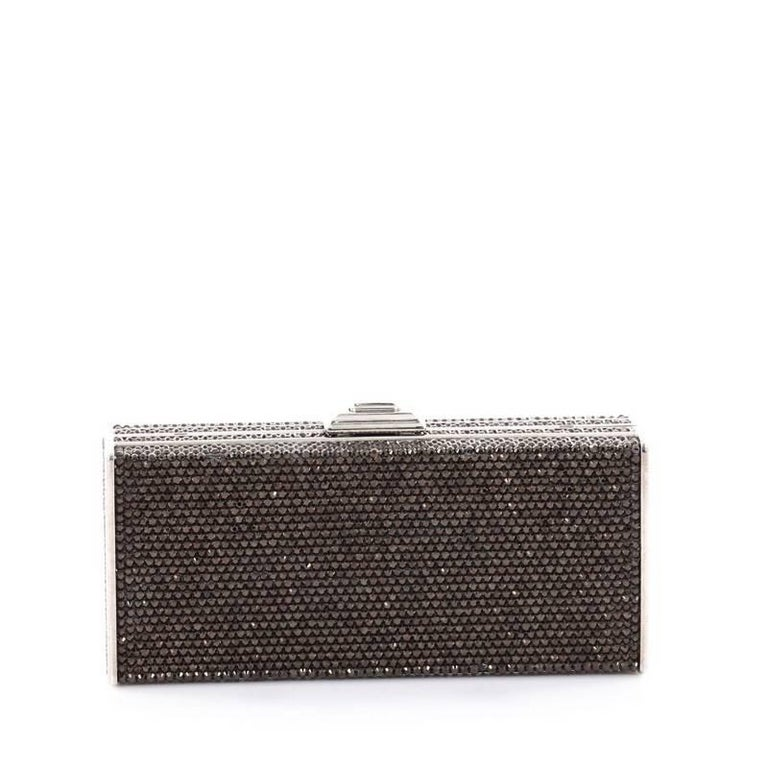 Black Judith Leiber Minaudiere Crystal Long For Sale