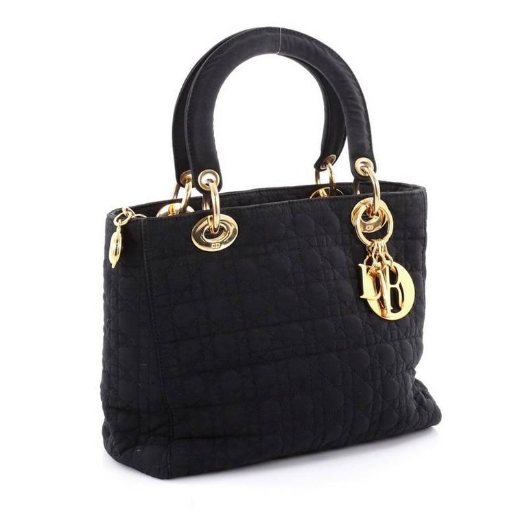 Christian Dior Lady Dior Handbag Cannage Quilt Nylon Medium 7