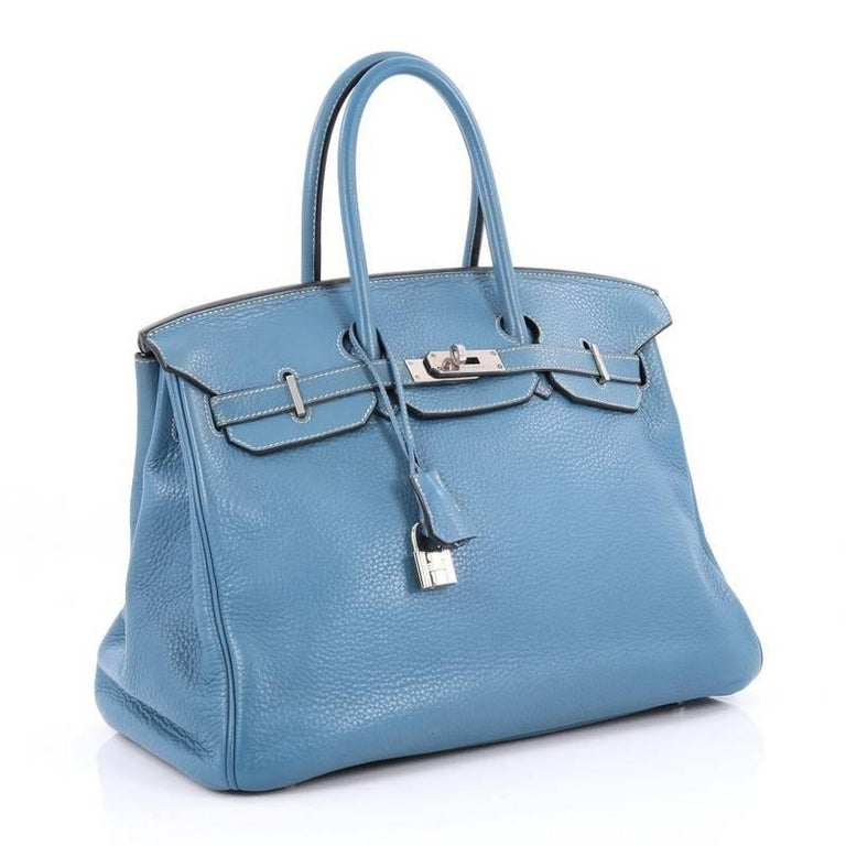 b3e7e8ec0a Hermes Birkin Handbag Blue Jean Clemence with Palladium Hardware 35 In Good  Condition For Sale In