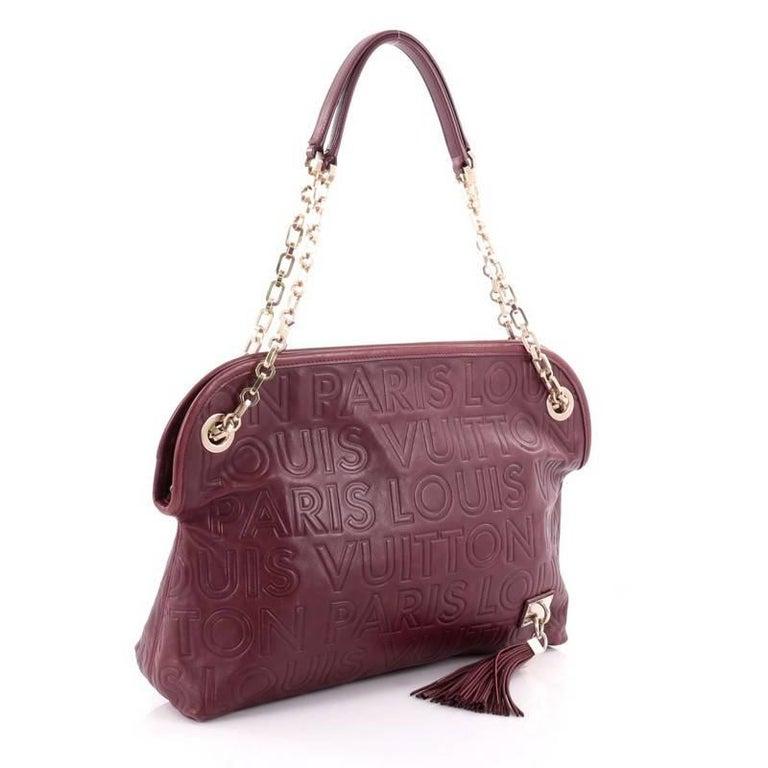 Brown Louis Vuitton Limited Edition Paris Souple Leather Wish Bag For