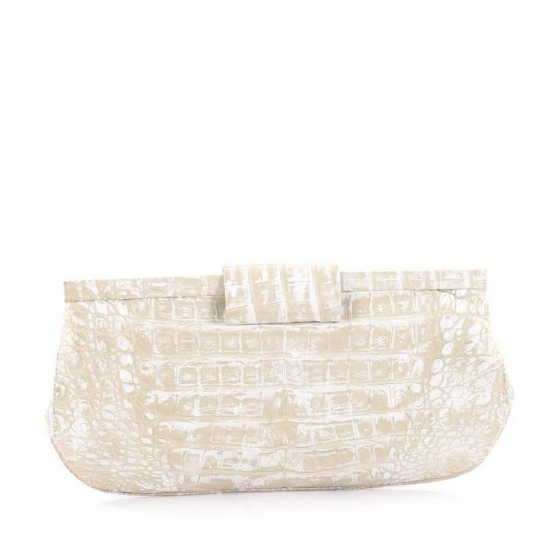 Nancy Gonzalez Frame Clutch Crocodile Long In Good Condition For Sale In New York, NY