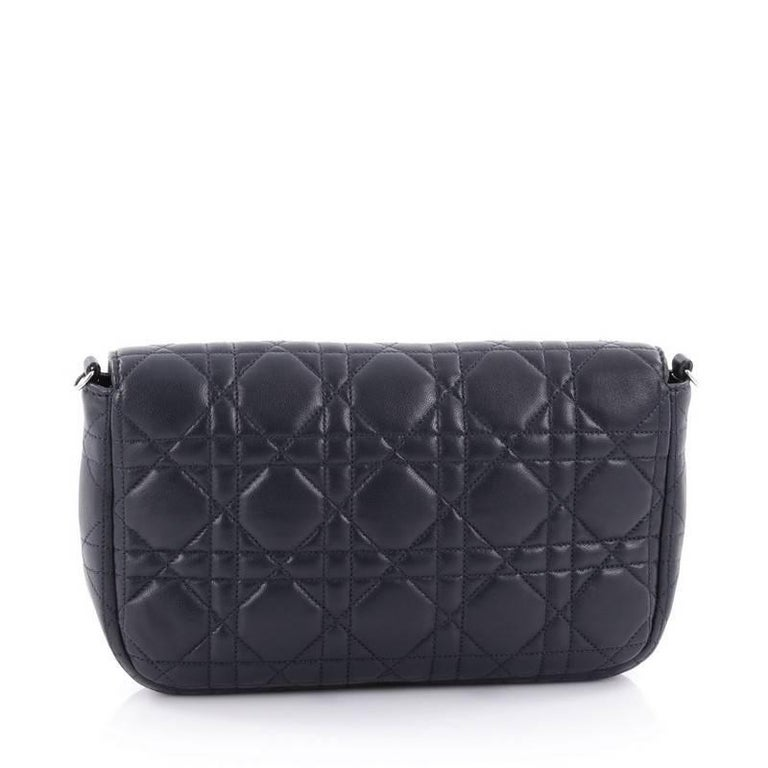 Christian Dior Miss Dior Promenade Pouch Cannage Quilt Lambskin Large In Excellent Condition For Sale In New York, NY