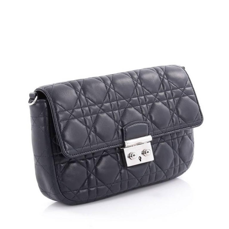 Black Christian Dior Miss Dior Promenade Pouch Cannage Quilt Lambskin Large For Sale