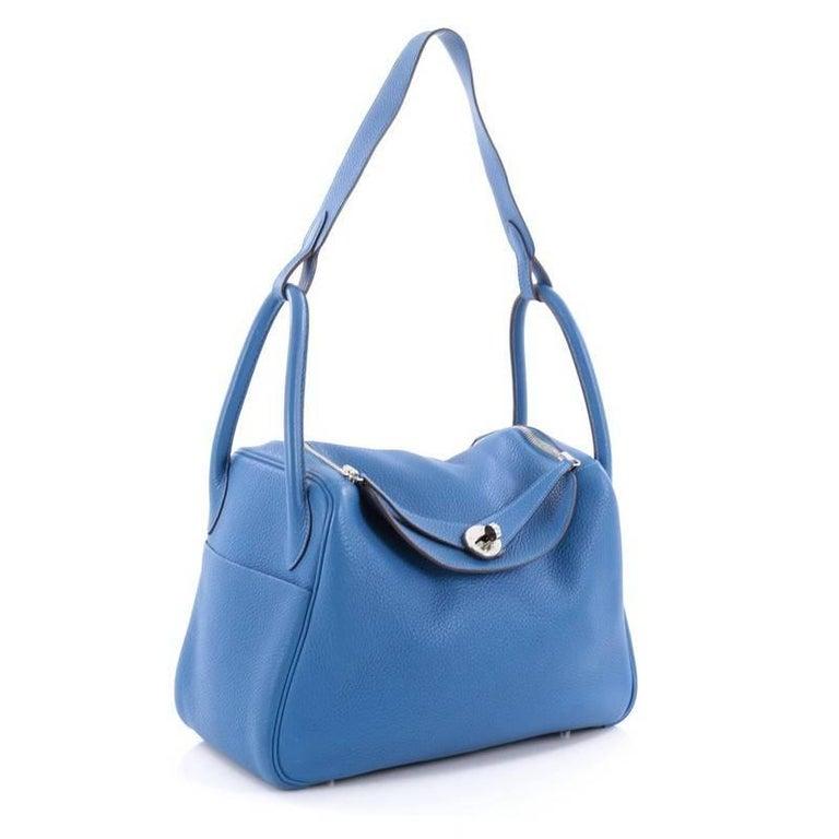 Blue Hermes Lindy Handbag Clemence 30 For Sale