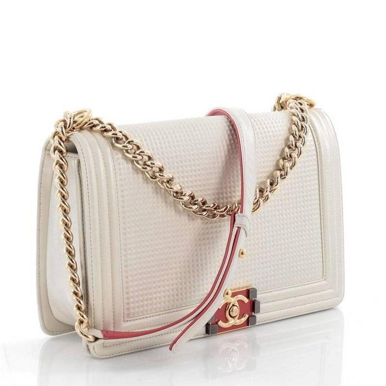 0e640ac3f65b22 Beige Chanel Boy Flap Bag Cube Embossed Lambskin New Medium For Sale
