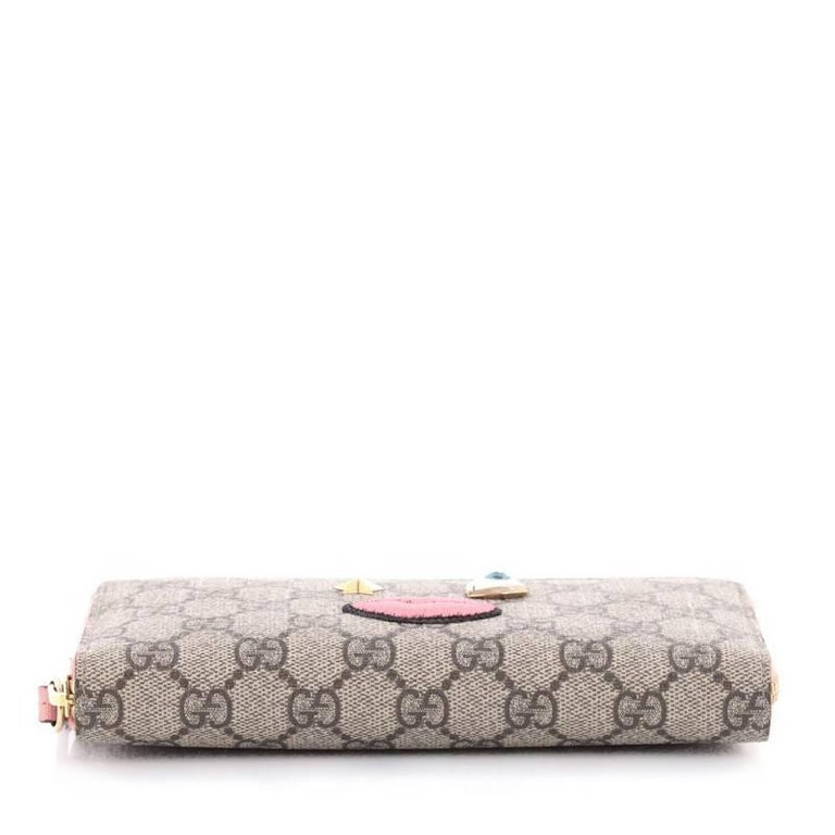 dd21874ac6b113 Gucci Zip Around Wallet With Embroidered Face 431392 Pink | Stanford ...