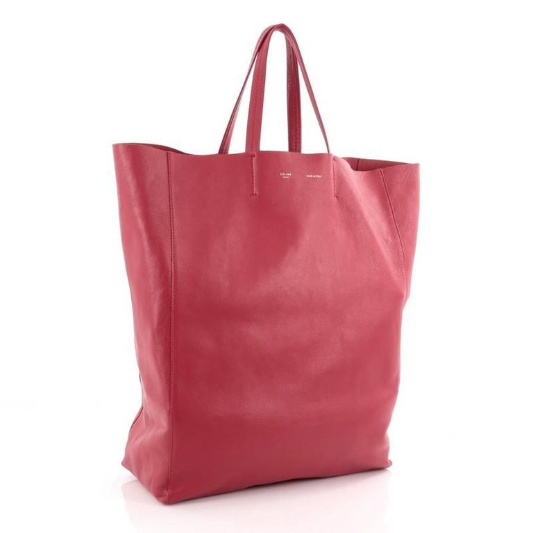 Pink Celine Vertical Cabas Tote Leather Large For Sale