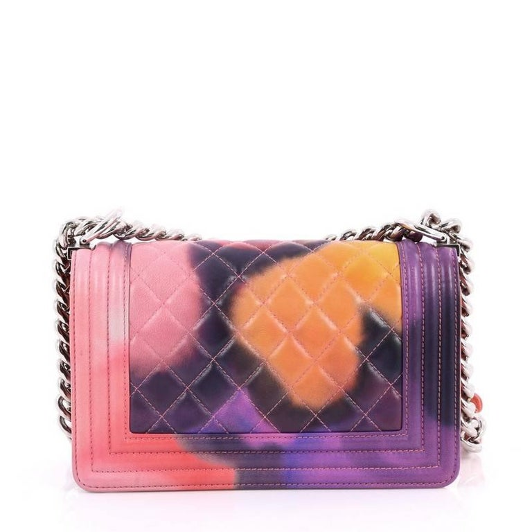 Chanel Limited Edition Flower Power Boy Flap Bag Quilted Lambskin Small For Sale At 1stdibs