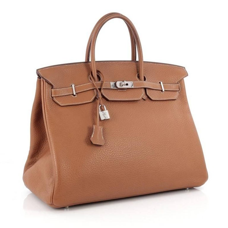 Brown Hermes Birkin Handbag Gold Clemence with Palladium Hardware 40 For Sale