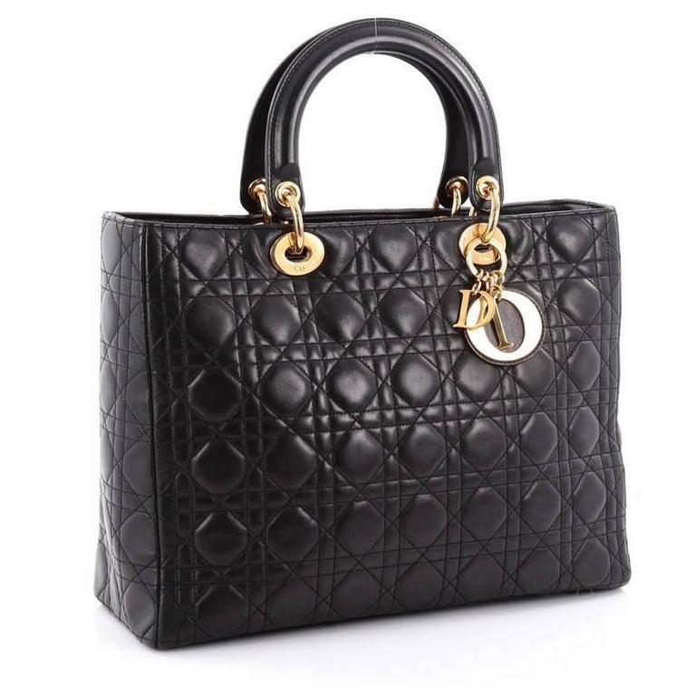 Black Christian Dior Lady Dior Handbag Cannage Quilt Lambskin Large For Sale