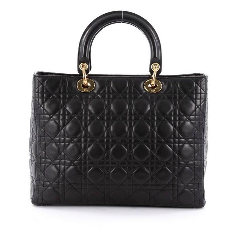 Christian Dior Lady Dior Handbag Cannage Quilt Lambskin Large In Good Condition For Sale In New York, NY