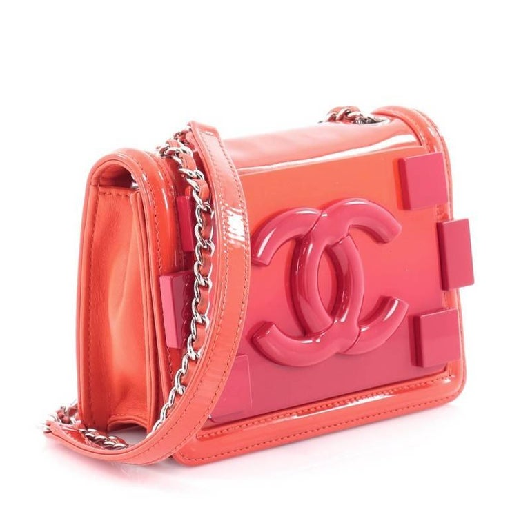 a7e1596430bf Red Chanel Boy Brick Flap Bag Patent and Plexiglass Mini For Sale