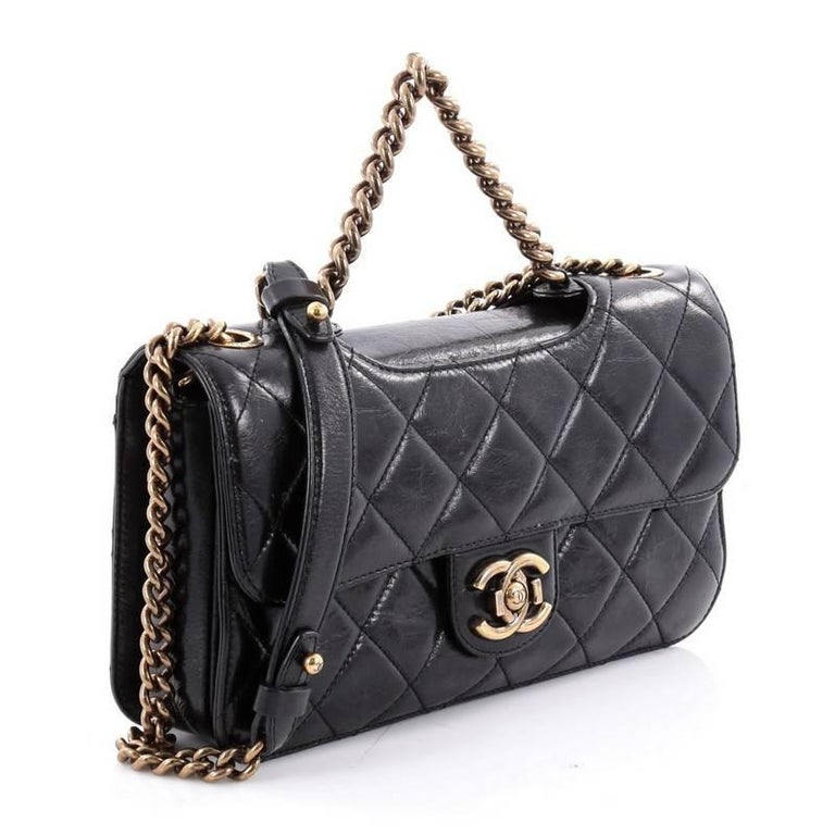 Black Chanel Perfect Edge Flap Bag Quilted Glazed Calfskin Small For Sale c8b603b7d0