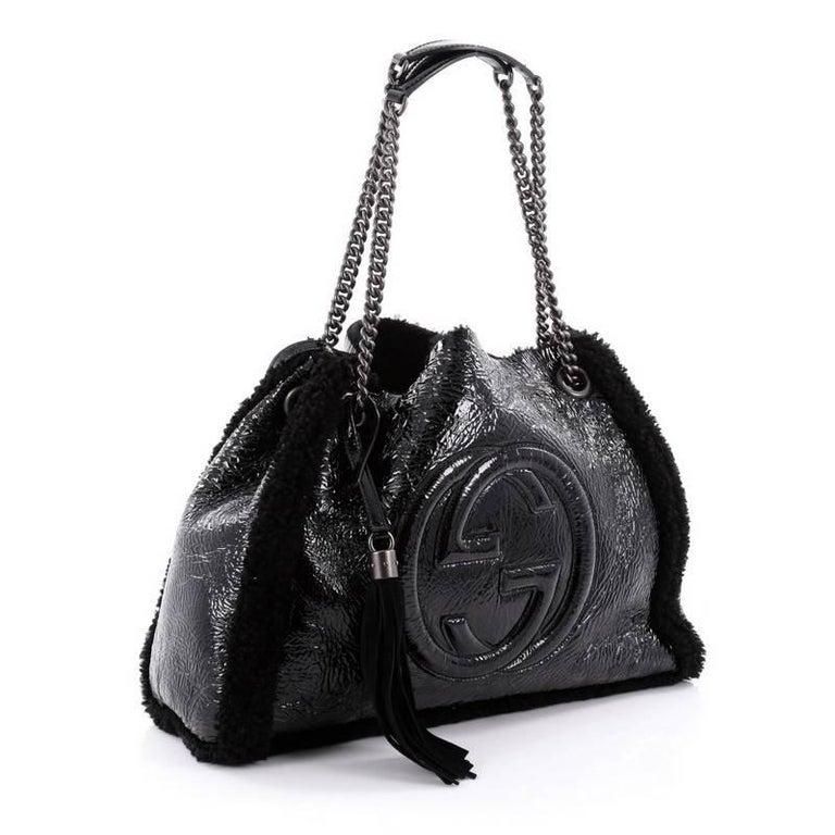 b61896d7 Gucci Soho Shoulder Bag Chain Strap Patent and Shearling Medium