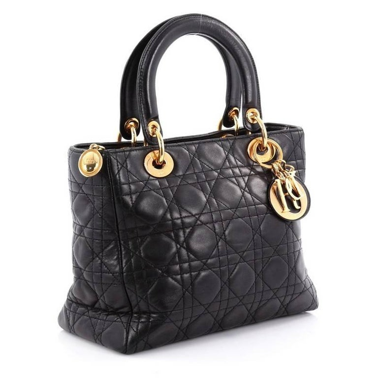 Black Christian Dior Lady Dior Handbag Cannage Quilt Lambskin Medium For Sale