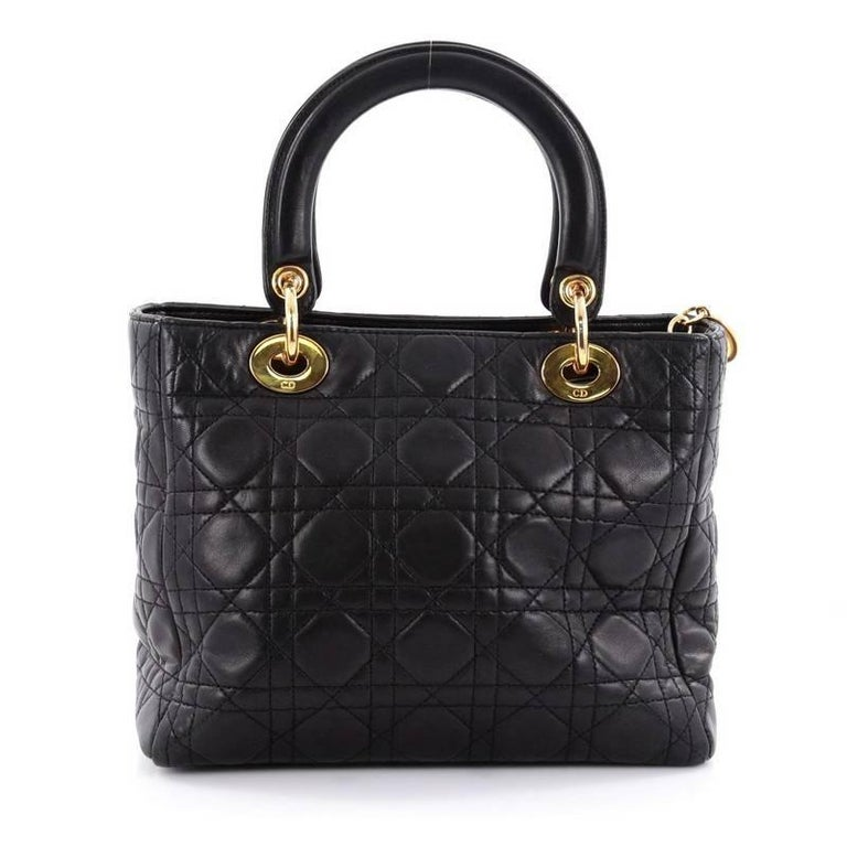 Christian Dior Lady Dior Handbag Cannage Quilt Lambskin Medium 4