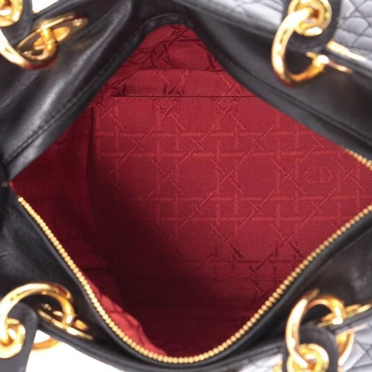 Christian Dior Lady Dior Handbag Cannage Quilt Lambskin Medium For Sale 3