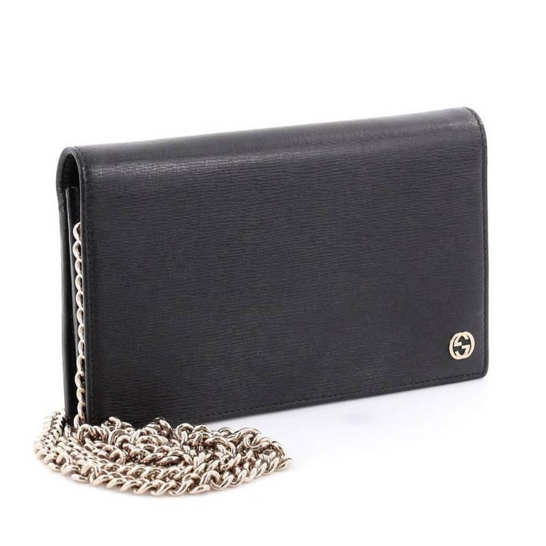 d5f7448160fa Black Gucci Betty Chain Wallet Leather For Sale