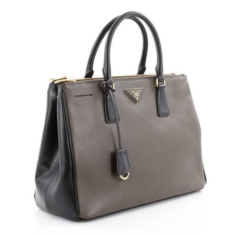a628f3fb86b9 Prada Bicolor Saffiano Double-zip Tote Bag Black/white | Stanford ...