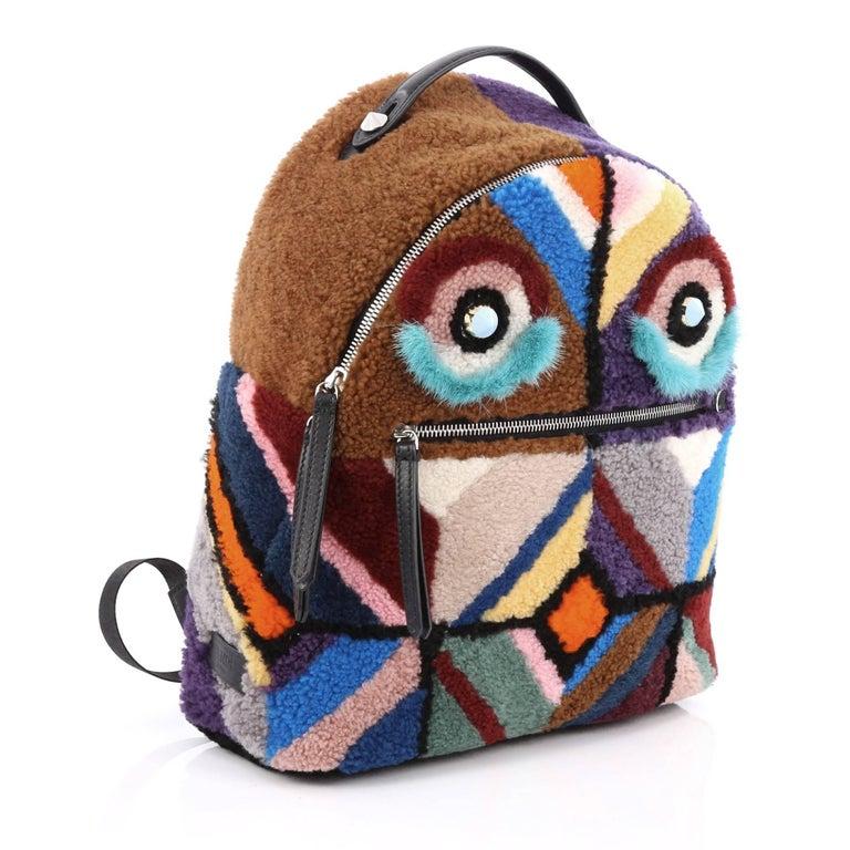 826b59a2de20 Fendi Monster Shearling Fur Backpack Multicolor alan-ayers.co.uk