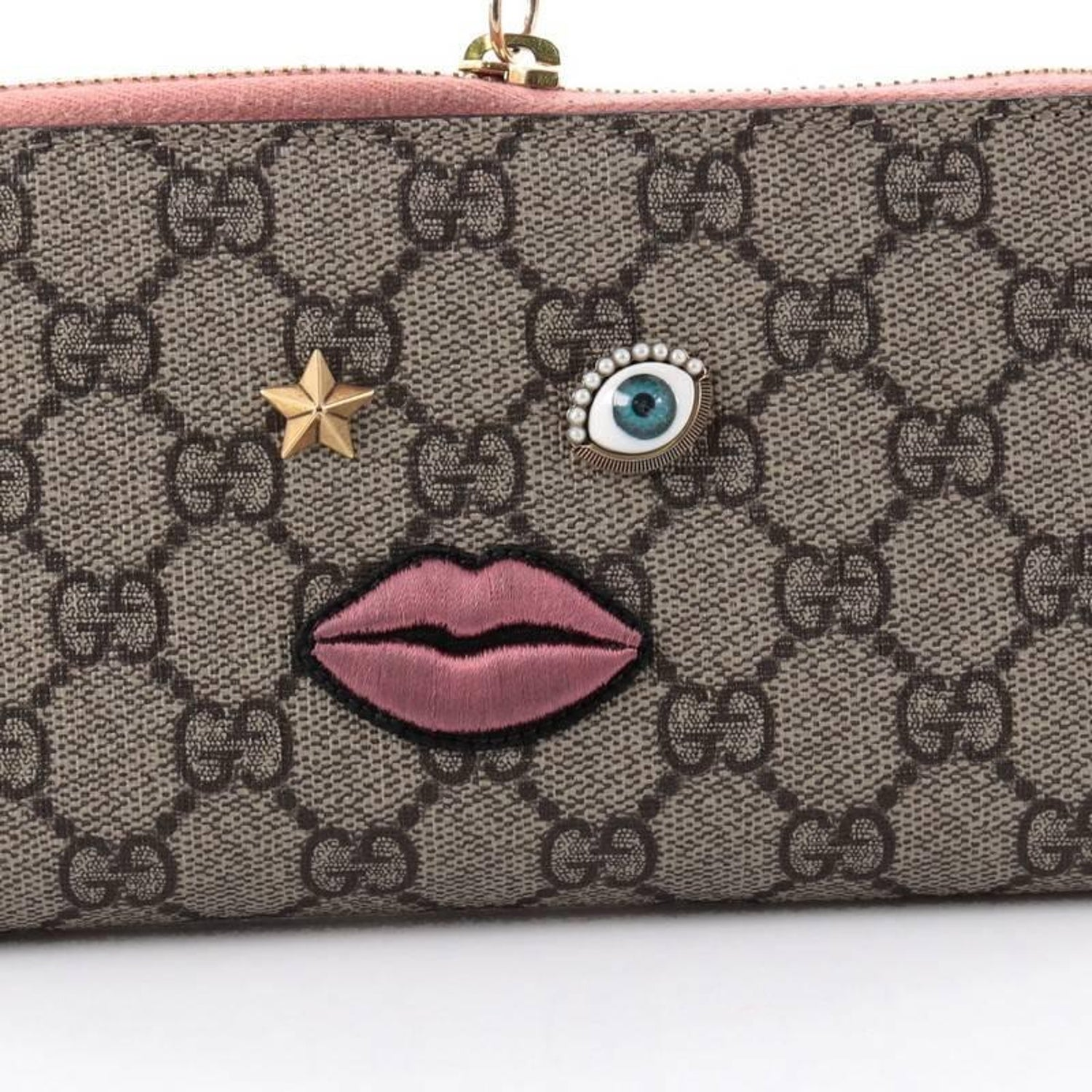 856323ba4cc0 Gucci Zip Around Wallet GG Coated Canvas with Face Applique at 1stdibs