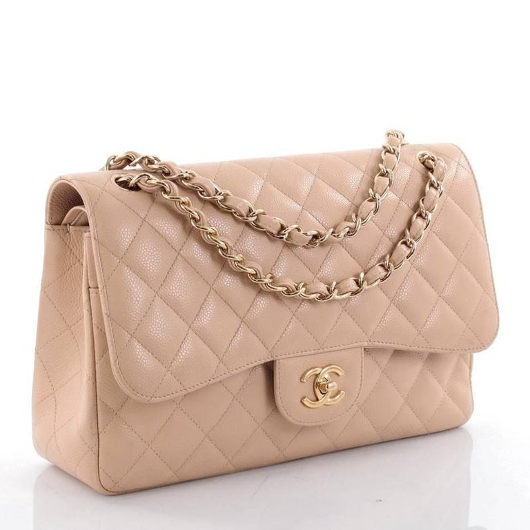 Beige  Chanel Classic Double Flap Bag Quilted Caviar Jumbo