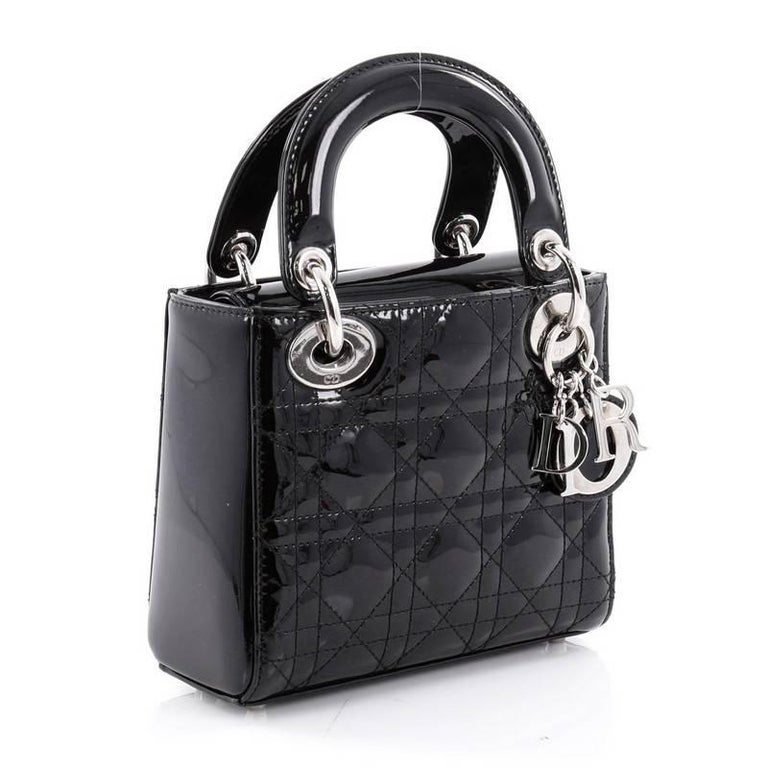 0699baa185 Women's or Men's Christian Dior Lady Dior Handbag Cannage Quilt Patent Mini  For Sale