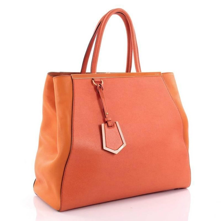 Orange Fendi 2Jours Handbag Leather Large For Sale 7b187a6a7a057