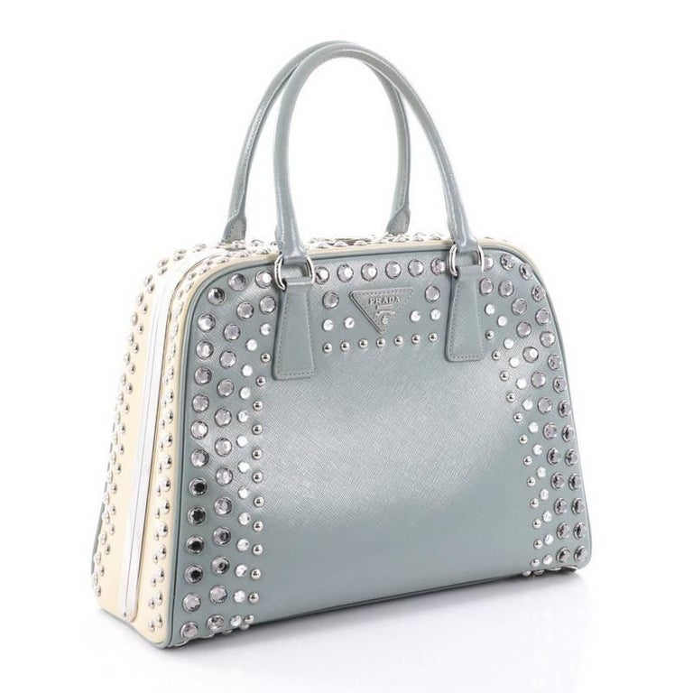 80a52bf79c80 Gray Prada Pyramid Top Handle Bag Studded Vernice Saffiano Leather Large  For Sale