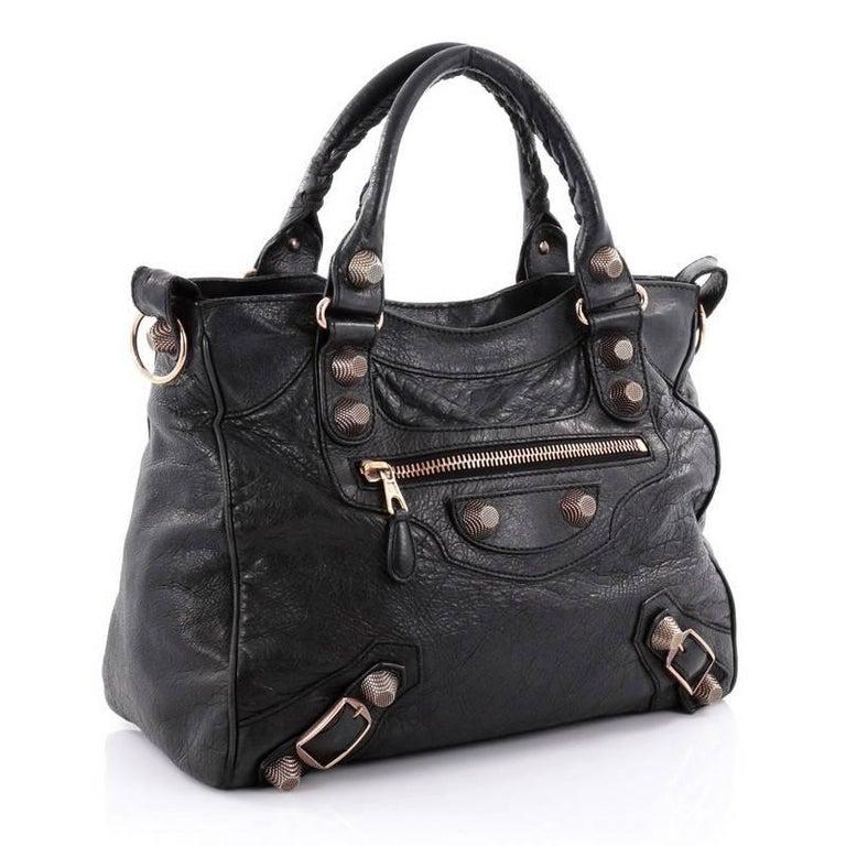 Black Balenciaga Velo Giant Studs Handbag Leather For