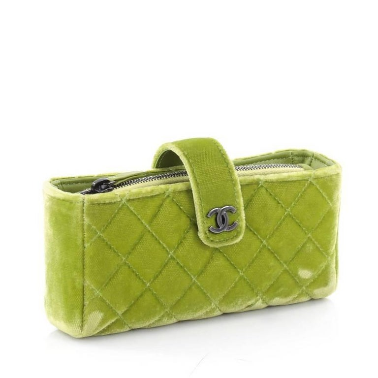 581afdc05a57 Brown Chanel Chain Phone Holder Crossbody Bag Quilted Velvet Mini For Sale