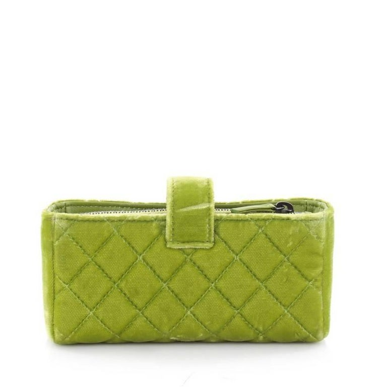 101e3e58330c Chanel Chain Phone Holder Crossbody Bag Quilted Velvet Mini In Good  Condition For Sale In New