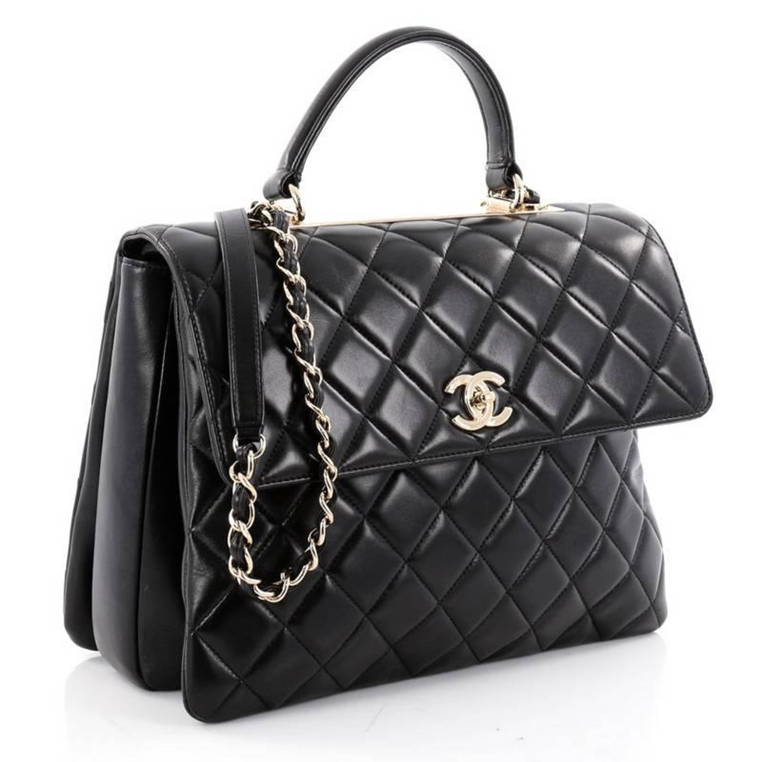 0b784baaa0dbb Chanel Trendy CC Top Handle Bag Quilted Lambskin Large at 1stdibs