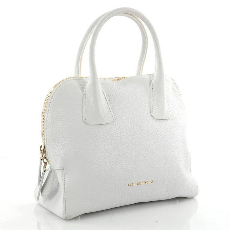 e523faf452 Gray Burberry Greenwood Bowling Bag Grainy Leather Small For Sale