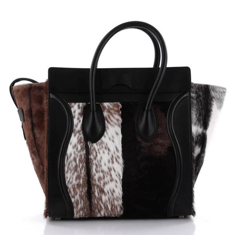 9ceeda1a32c7 Celine Luggage Handbag Goat Fur Mini In Good Condition For Sale In New  York, NY