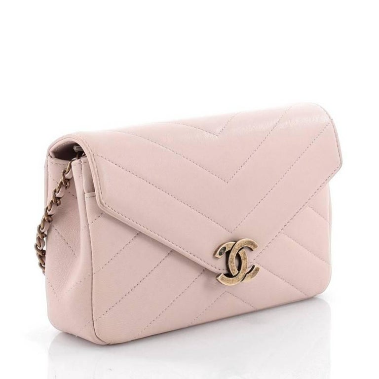 fa1ede94be0756 Beige Chanel Coco Envelope Flap Bag Chevron Leather Mini For Sale