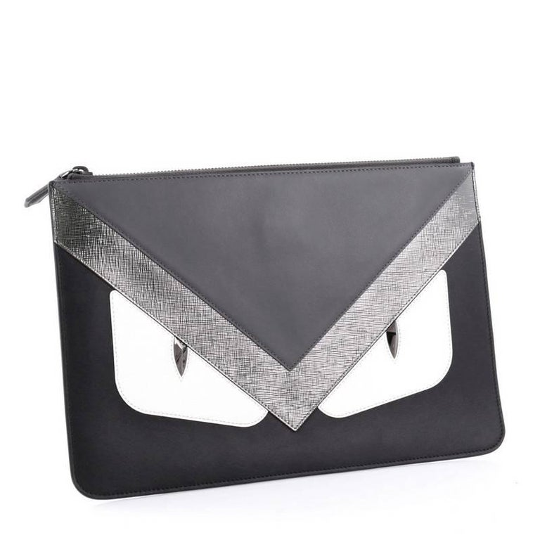 Black Fendi Monster Pouch Leather Medium For Sale