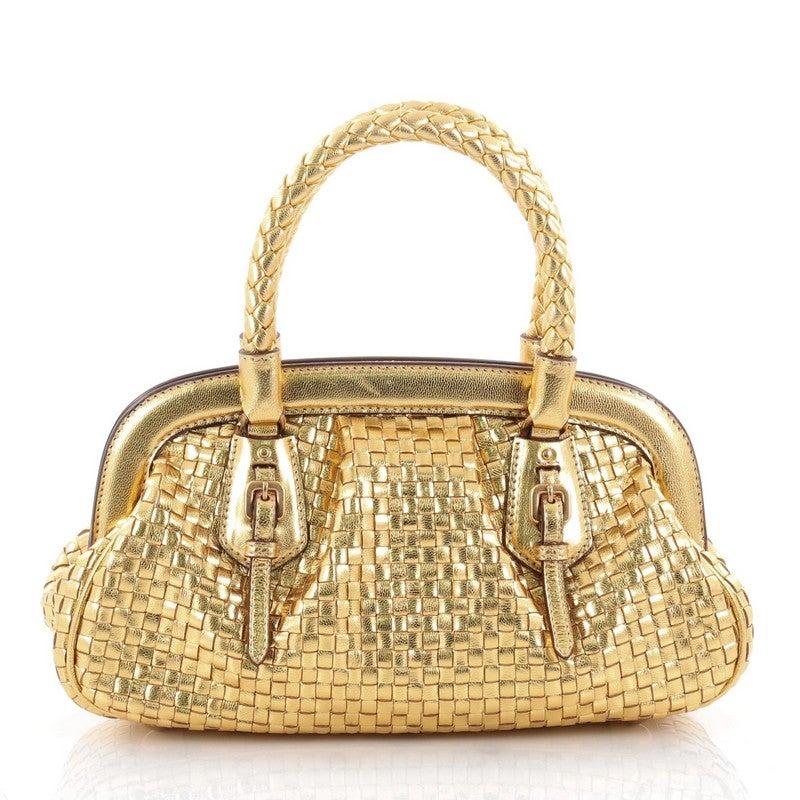 ad964e7b2675 Prada Madras Frame Bag Woven Leather Mini at 1stdibs