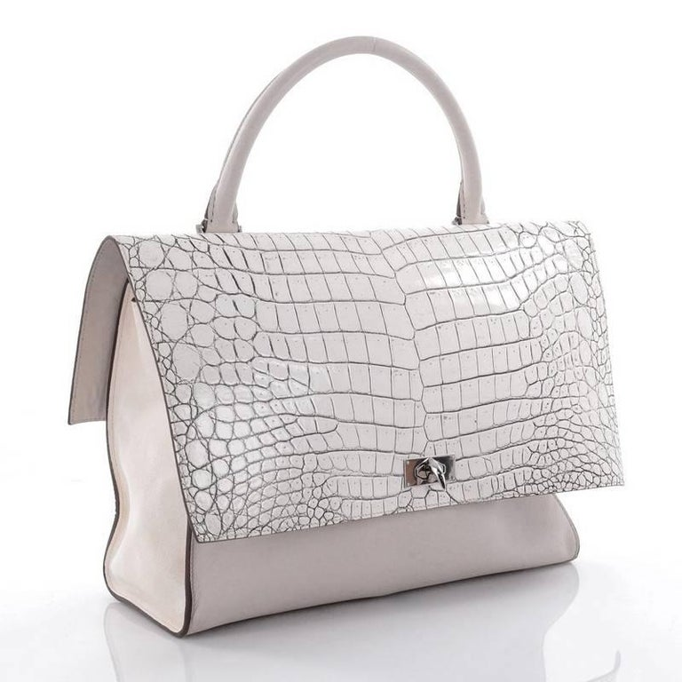 14e76f25f979 Gray Givenchy Shark Convertible Satchel Crocodile Embossed Leather Medium  For Sale