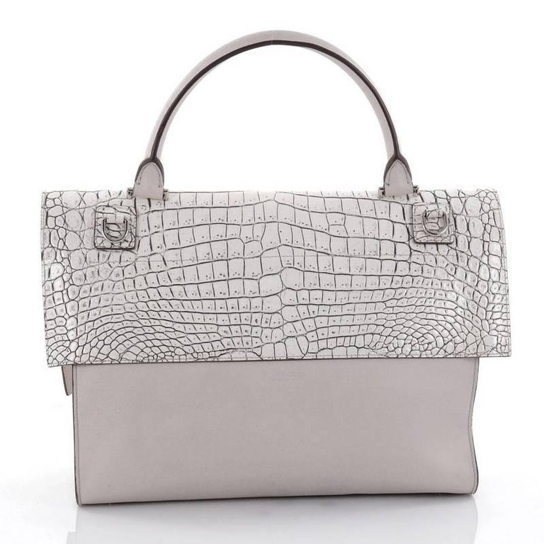 33b8aecd641a Givenchy Shark Convertible Satchel Crocodile Embossed Leather Medium In  Fair Condition For Sale In New York