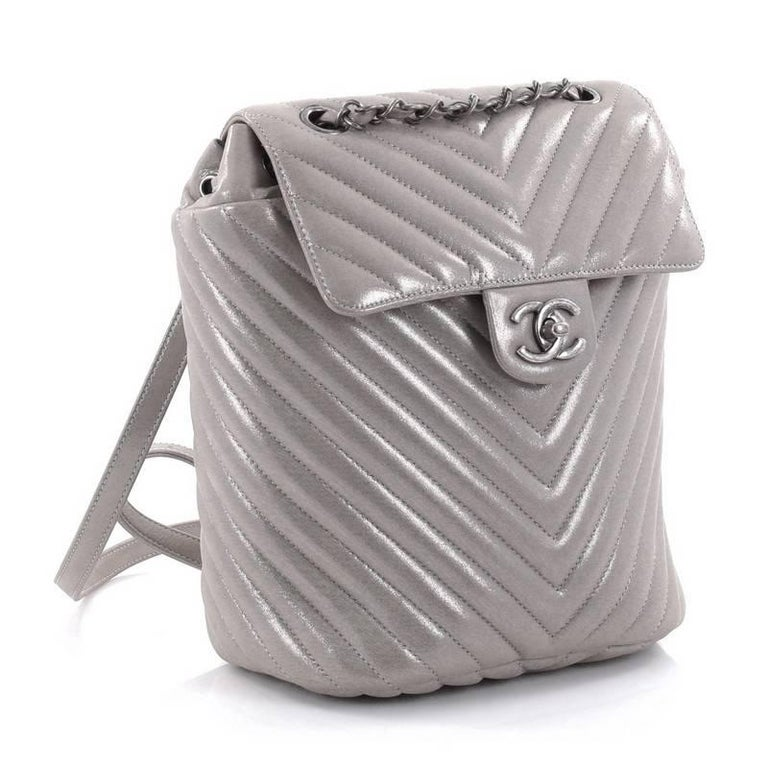 f7ca7a11038a Gray Chanel Urban Spirit Backpack Iridescent Chevron Calfskin Small For Sale