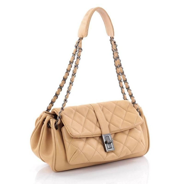 dde785d450c6 Beige Chanel Vintage Mademoiselle Lock Accordion Flap Bag Quilted Caviar  Medium For Sale