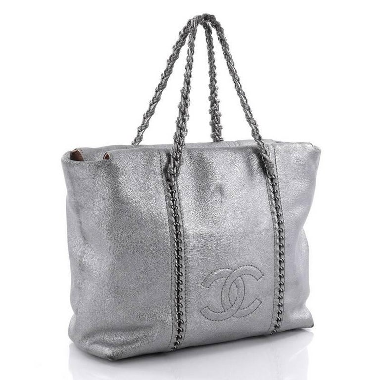 8dc81d206762 Gray Chanel Luxe Ligne Zip Top Tote Calfskin Large For Sale