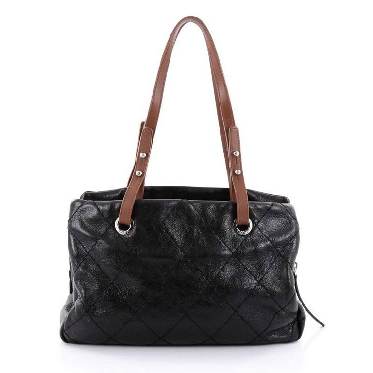 dd042c4819478c Chanel On The Road Shopping Tote Quilted Leather Medium In Good Condition  For Sale In New
