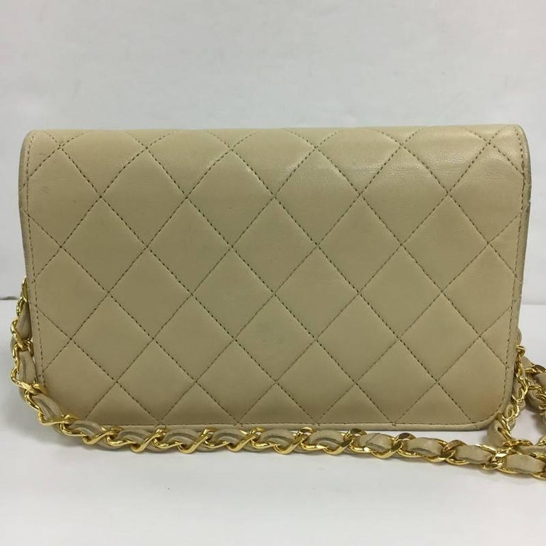 62cd02ff95ed22 Brown Chanel Vintage 3 Way Full Flap Bag Quilted Lambskin Mini For Sale