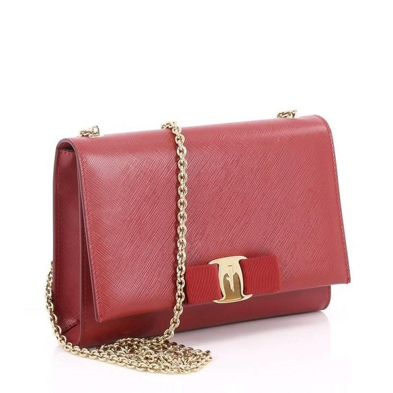dde000ff35 Pink Salvatore Ferragamo Ginny Crossbody Bag Saffiano Leather Small For Sale