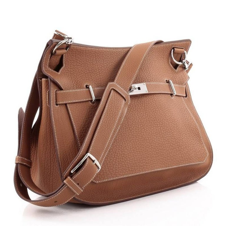 Brown Hermes Jypsiere Handbag Fjord 37 For Sale