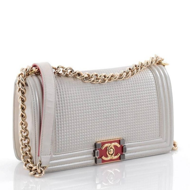 c3073ea5622ef2 Gray Chanel Boy Flap Bag Cube Embossed Lambskin Old Medium For Sale